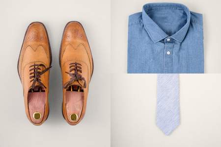 Mens fashionan set - shoes, shirt and neck tie