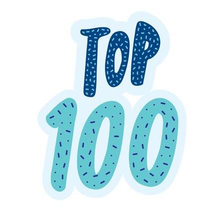 top 100 banner. Vector lettering. Illustration