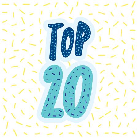 Top 20 bannière vecteur lettrage Banque d'images - 83011107