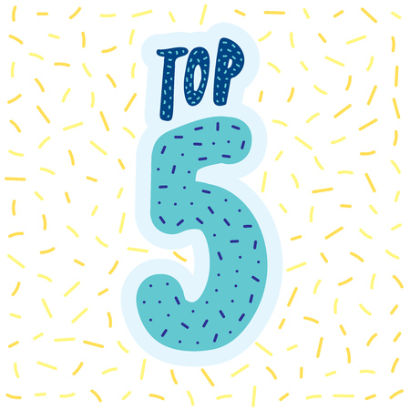 Top 5 typographic Banner Illustration