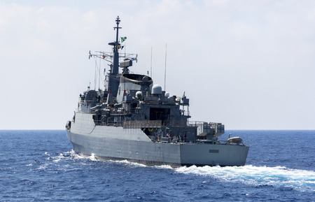 a warship in the ocean Stock Photo