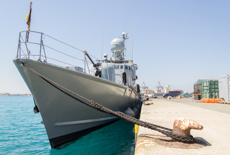decommissioning: a german speedboat lies in harbor Stock Photo