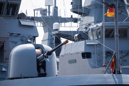 frigate: cannon on a german navy frigate