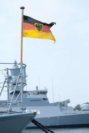 warship: german Bundesdienstflagge on a warship