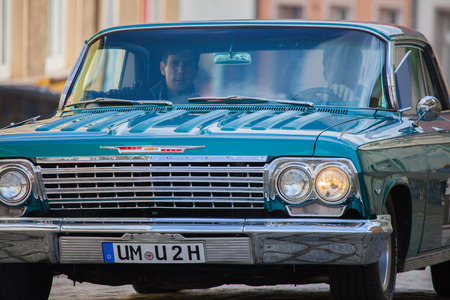 bel air: ALTENTREPTOW MECKLENBURG- WEST POMERANIA - MAY 2015: american chevrolet car on an oldtimer show in altentreptow germany at may 2015.