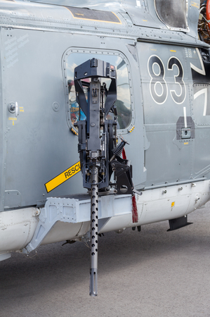 luft: BERLIN  GERMANY - MAY 2014: machine gun on german  sea lynx  helicopter, on the ILA ( Internationale Luft- und Raumfahrtausstellung) Berlin Air Show in berlin at may 2014. Editorial