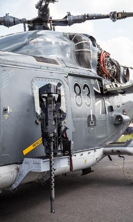 luft: BERLIN  GERMANY - MAY 2014: machine gun on german  sea lynx  helicopter, on the ILA ( Internationale Luft- und Raumfahrtausstellung) Berlin Air Show in berlin at may 2014. Editorial