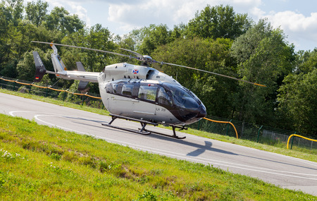 luft: BERLIN  GERMANY - MAY 2014: german  EC145 T2  from airbus on the ILA ( Internationale Luft- und Raumfahrtausstellung) Berlin Air Show in berlin at may 2014. Editorial