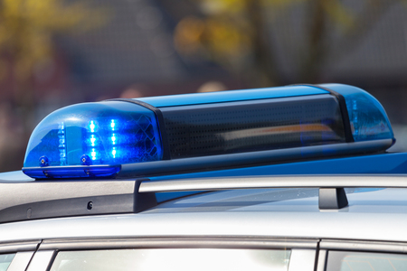 blue lights from a german police car