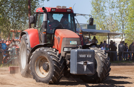 magnum: GRIMMEN GERMANY - MAY 5: german case puma cvx 150 tractor drives on track on a motortechnic festival on may 5, 2016 in grimmen  Germany.