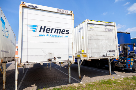 hermes: ALTENTREPTOW  GERMANY - MAY 5: swapbodys from parcel service hermes, stands on logistic depot in altentreptow  germany on may 5, 2016.