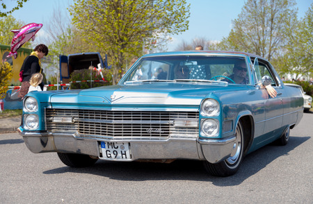 treptow: ALTENTREPTOW  GERMANY - MAY 1, 2016: Cadillac Coup de Ville drives on street at at oldtimer show in old treptow  germany on may 1, 2016th Editorial