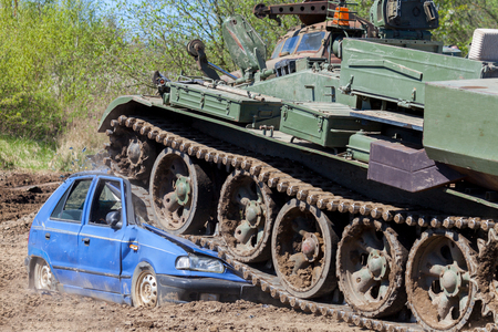 Image result for military tank crash car stock