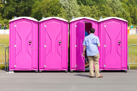 portable: portable toilets on a street