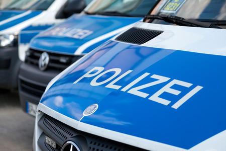 BERLIN / GERMANY - JUNE 4, 2016: german police cars stands on airport Schoenefeld / Berlin, Germany on june 4, 2016.