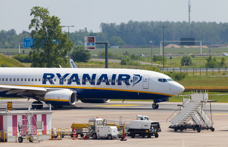 boing: BERLIN  GERMANY - JUNE 4, 2016: Boing 737 - 8AS from Ryanair on airport schoenefeld, berlin  germany at june 4, 2016