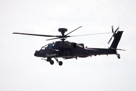 BERLIN  GERMANY - JUNE 3, 2016: Boing AH-64 Apache flights on airport schoenefeld, berlin  germany at june 3, 2016 Editorial