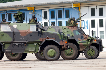 convoy: BURG  GERMANY - JUNE 25, 2016: german military army convoy, stands on open day in barrack burg  germany at june 25, 2016