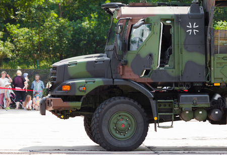 barrack: BURG  GERMANY - JUNE 25, 2016: german army truck, Mercedes-Benz Zetros drives on open day in barrack burg  germany at june 25, 2016. The  Zetros is an off-road truck for extreme operations.