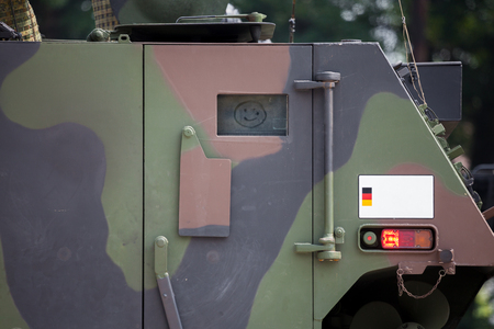 armoured: door with a smiley on military armoured vehicle door