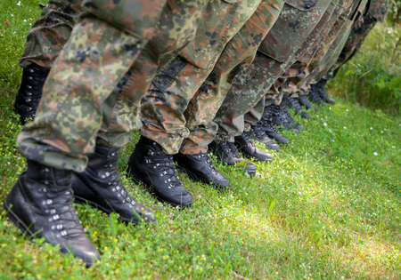 boots from german soldiers in a row