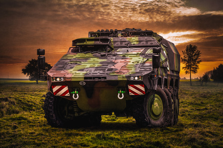 armoured: Armoured fighting vehicle in a beautiful landscape