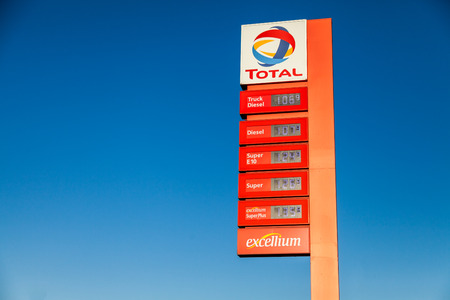 BURG  GERMANY - SEPTEMBER 15, 2016: german gas station price sign from total stands on gas station