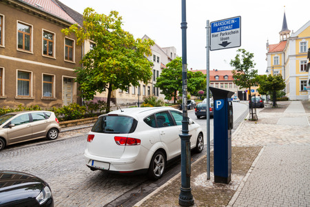 automat: german parking ticket vending machine on a street Stock Photo