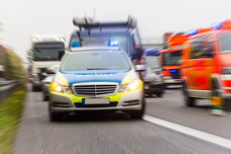 german police car on a freeway