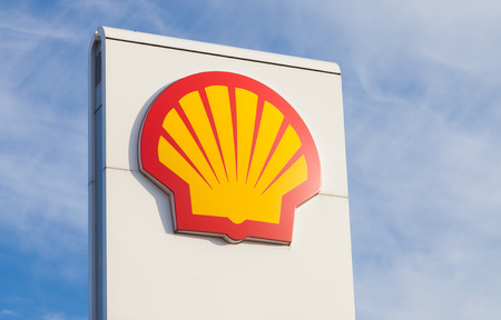 incorporated: BURG  GERMANY - NOVEMBER 13, 2016: Shell gas station sign. Shell is an Anglo-Dutch multinational oil and gas company headquartered in the Netherlands and incorporated in the United Kingdom.