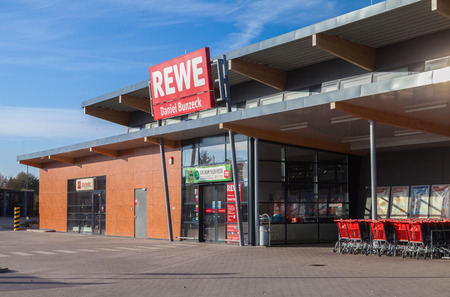 co operative: BURG  GERMANY - NOVEMBER 13, 2016: subsidiary from german supermarket chain, REWE. The REWE Group is a German diversified retail and tourism co-operative group based in Cologne, Germany.