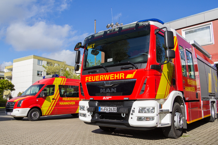 HANNOVER  GERMANY - APRIL 25, 2017: german fire engine stands on street Editorial