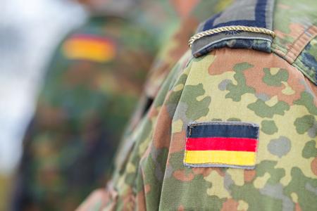 german flag on german army uniform Stockfoto