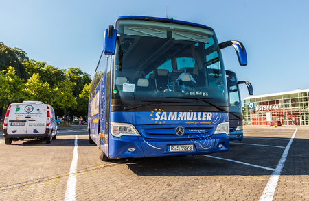busses: KIEL  GERMANY - 20 JUNE, 2017: bus from german travel company Sammueller stands on a parking area. Editorial