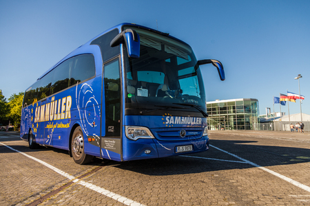 KIEL  GERMANY - 20 JUNE, 2017: bus from german travel company Sammueller stands on a parking area. Editorial
