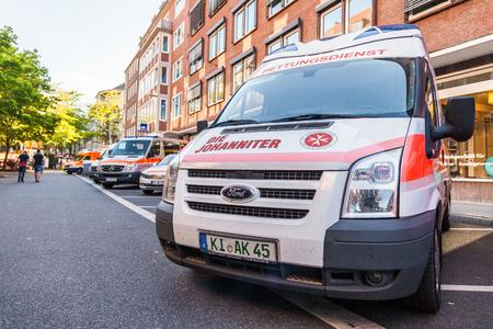 daimler: KIEL  GERMANY - JUNE 20, 2017: german ambulance car from Johanniter stands on public event Kieler Woche.
