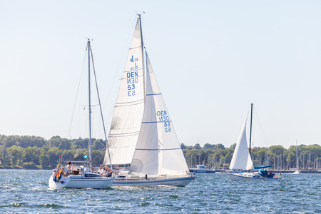 KIEL  GERMANY - JUNE 20, 2017: a sailing ship drives in water on public event Kieler Woche.
