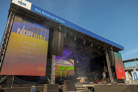 KIEL  GERMANY - JUNE 20, 2017: NDR stage on public event Kieler Woche in Germany. Northern German Broadcasting is a public radio and television broadcaster, based in Hamburg. Editorial