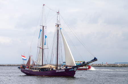 Warnemuende   Germany - August 12, 2017: sailing ships at public event hanse sail in warnemuende, germany.