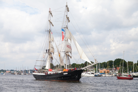 Warnemuende   Germany - August 12, 2017: sailing ship mercedes at public event hanse sail in warnemuende, germany.