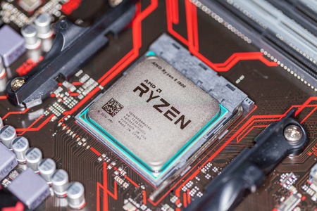 HANNOVER / GERMANY - OCTOBER 12, 2017: AMD Ryzen processor chip on an Asus prime 350 plus mainboard.