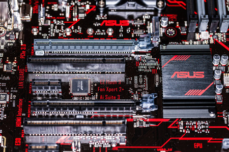 HANNOVER  GERMANY - OCTOBER 12, 2017:Asus heatsink on an asus prime 350 plus mainboard