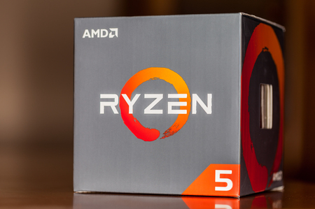 HANNOVER  GERMANY - OCTOBER 12, 2017: AMD Ryzen logo on carton. Ryzen is a brand of central processing unitTs (CPUs) and accelerated processing units (APUs) marketed and designed by AMD.