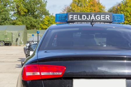 blue light bar from a civil feldjaeger, military police car Stock Photo