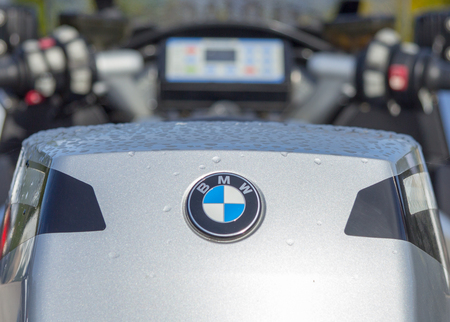 MUNSTER  GERMANY - OCTOBER 9, 2017: BMW logo on a BMW R1200RT motorcycle