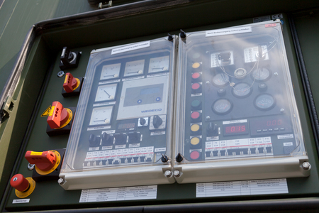 BURG  GERMANY - JUNE 25, 2016: control panel from german military rescue station generator trailer