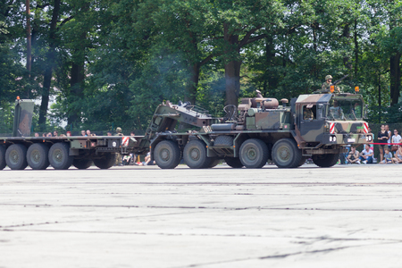 BURG  GERMANY - JUNE 25, 2016: german SLT 50 Elefant heavy duty tractor unit and tank transporter at open day in barrack burg Editorial
