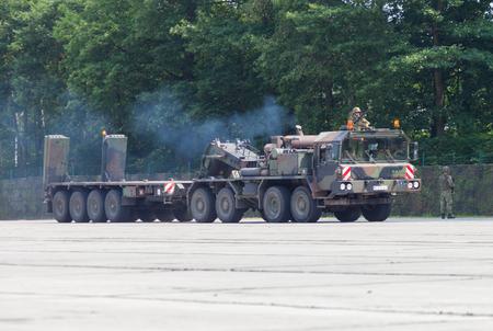 BURG / GERMANY - JUNE 25, 2016: german SLT 50 Elefant heavy duty tractor unit and tank transporter at open day in barrack burg