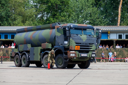 BURG  GERMANY - JUNE 25, 2016: german military Iveco 8x8 tanker at open day in barrack burg