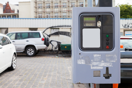 german parking ticket vending machine on a street Stok Fotoğraf